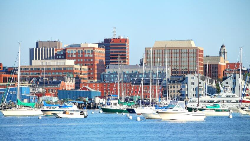 Portland Harbor and skyline at the western end of Casco Bay.