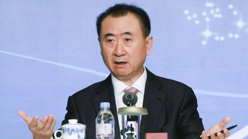 WUHAN, CHINA - DECEMBER 20:  (CHINA OUT) Wang Jianlin, Chairman of Wanda Group, attends press conference of Golbal Premiere of Han Show and Grand Opening of the Wanda Movie Park on December 20, 2014 in Wuhan, Hubei province of China.
