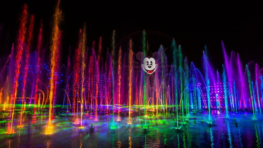 "WORLD OF COLOR -- Lights, water, music, fire and animation come together like never before in ""World of Color"" at Disney California Adventure park in Anaheim, Calif."