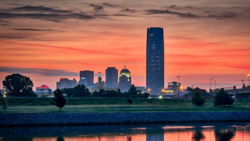 Sunrise overlooking downtown Oklahoma City.