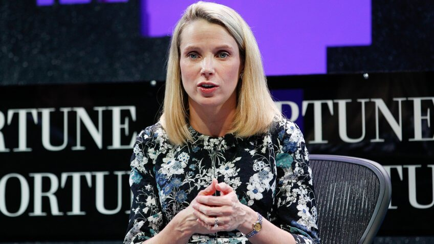 SAN FRANCISCO, CA - NOVEMBER 03:  Marissa Mayer speaks during the Fortune Global Forum - Day2 at the Fairmont Hotel on November 3, 2015 in San Francisco, California.