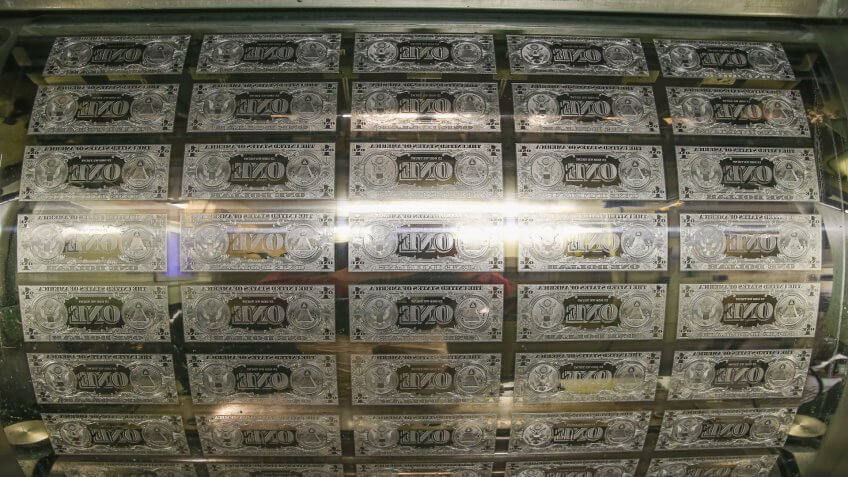 WASHINGTON, DC - MARCH 24: One dollar bill printing plates are ready to print money at the Bureau of Engraving and Printing on March 24, 2015 in Washington, DC.
