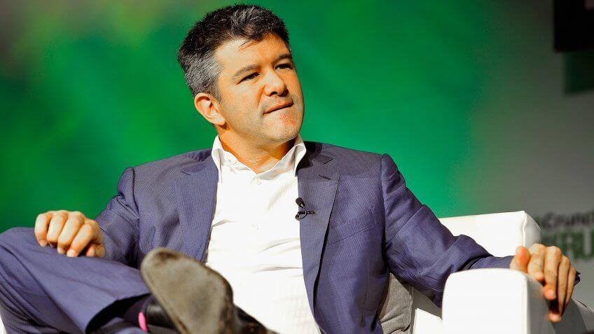 SAN FRANCISCO, CA - SEPTEMBER 08:  Uber CEO Travis Kalanick speaks onstage at TechCrunch Discrupt at Pier 48 on September 8, 2014 in San Francisco, California.