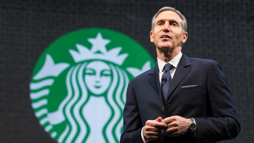 SEATTLE, WA - MARCH 18:  Starbucks Chairman and CEO Howard Schultz speaks during Starbucks annual shareholders meeting March 18, 2015 in Seattle, Washington.