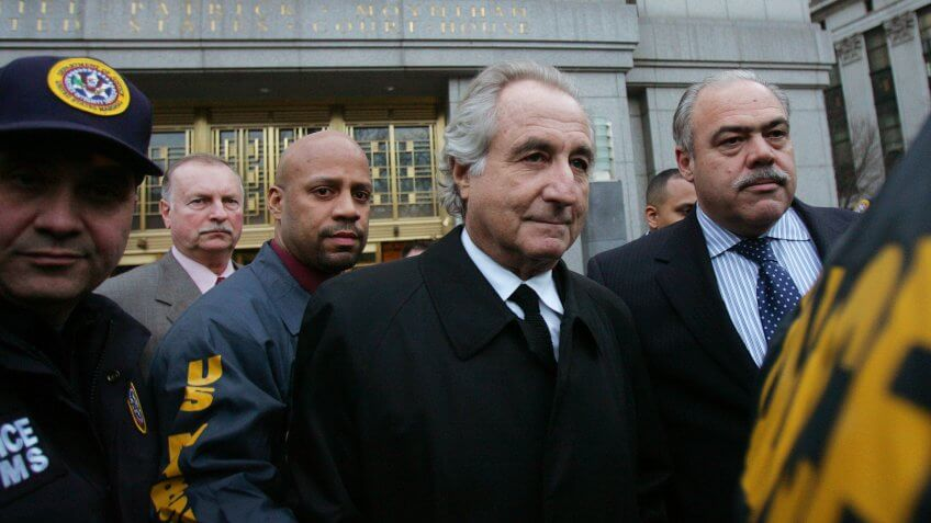 NEW YORK - JANUARY 5:  Bernard Madoff (C) walks out from Federal Court after a bail hearing in Manhattan January 5, 2009 in New York City.