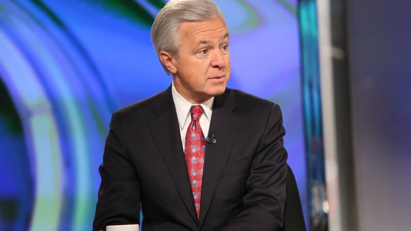 """NEW YORK, NY - APRIL 30:  Wells Fargo CEO John Stumpf Visits FOX Business Networks' """"Opening Bell With Maria Bartiromo"""" at FOX Studios on April 30, 2015 in New York City."""