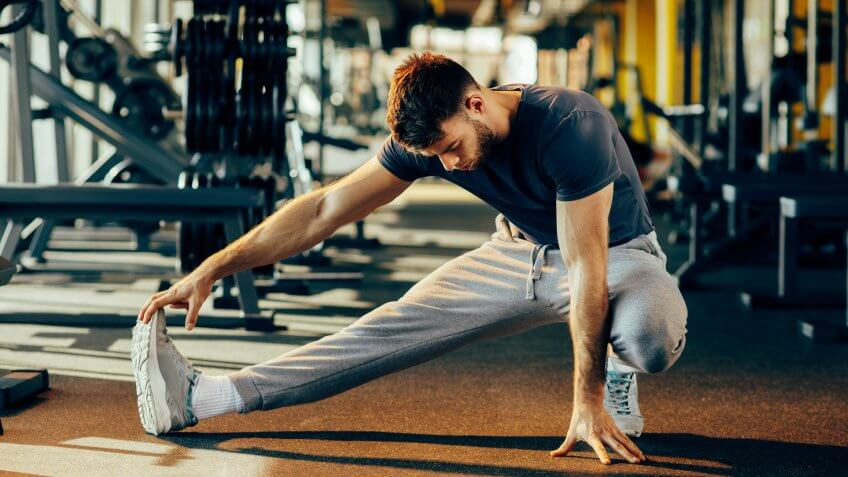 man-stretching