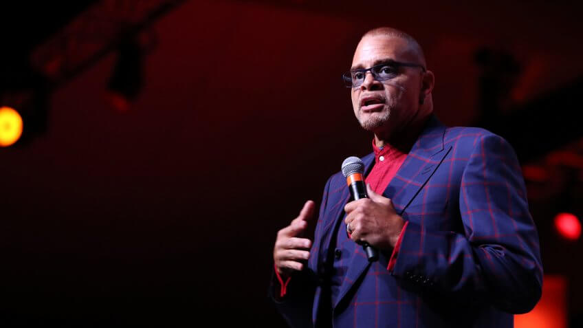 ST PAUL, MN - JULY 16: Sinbad takes the stage at the 2017 Starkey Hearing Foundation So the World May Hear Awards Gala at the Saint Paul RiverCentre on July 16, 2017 in St.