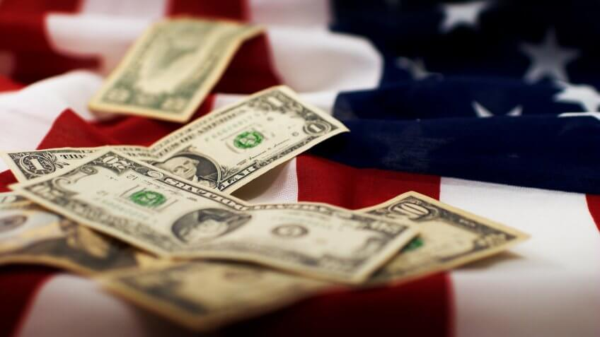 stars and stripes with dollar bills of the USA Flag.