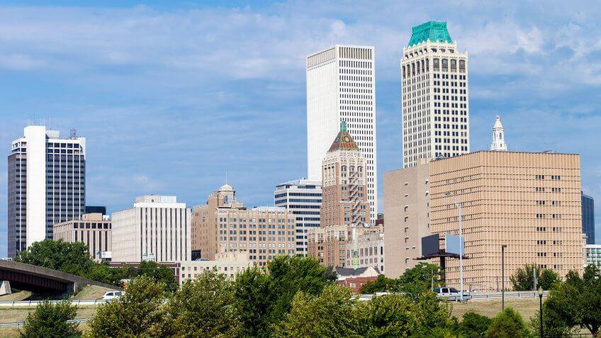 Downtown Tulsa, Oklahoma on a sunny day.