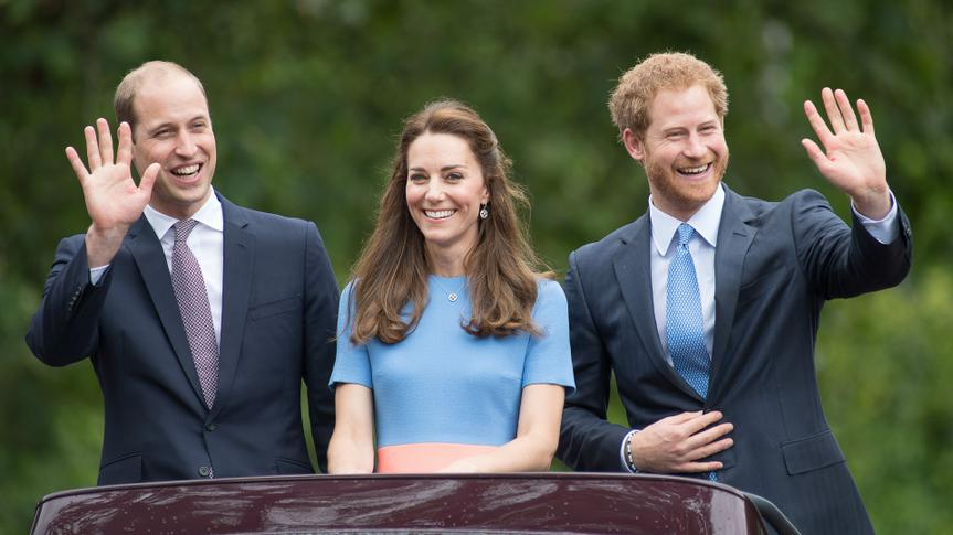 """LONDON, ENGLAND - JUNE 12:  (L-R) Prince William, Duke of Cambridge, Catherine, Duchess of Cambridge and Prince Harry during """"The Patron's Lunch"""" celebrations for The Queen's 90th birthday at The Mall on June 12, 2016 in London, England."""