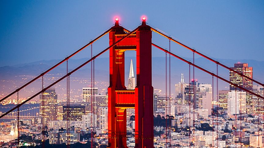 Golden Gate Bridge with San Francisco Cityscape Close up.