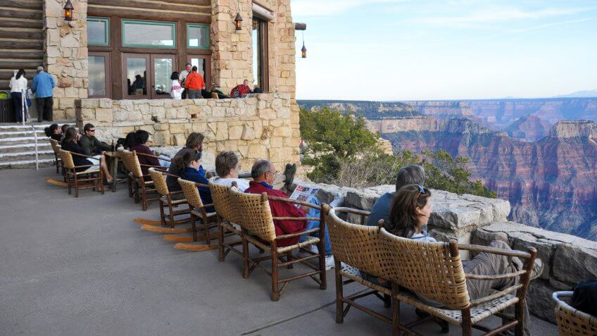 Grand Canyon Lodge on the North Rim of Grand Canyon is often the first prominent feature that visitors see, even before viewing the canyon.