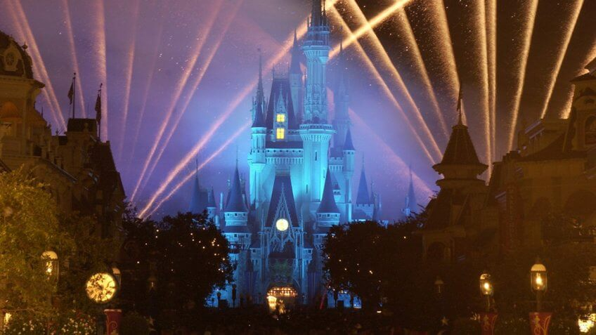 """WISHES LIGHTS THE NIGHT -- A new fireworks spectacular called """"Wishes"""" bursts above and around Cinderella Castle at Walt Disney World Resort, delighting Magic Kingdom guests."""