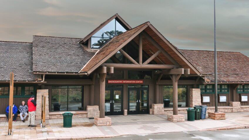 The South Rim Backcountry Information Center is open daily, year-round, from 8:00 a.