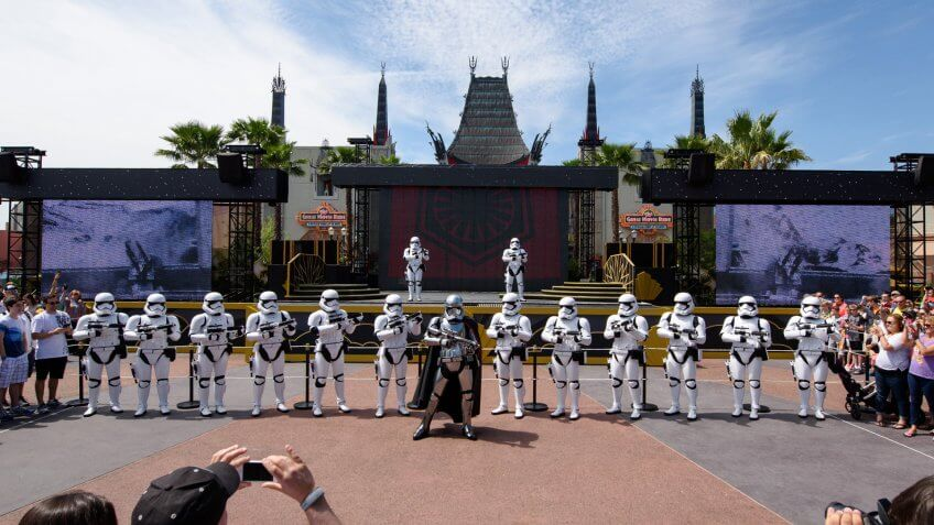 At various times each day, the menacing Captain Phasma leads a squad of First Order stormtroopers as they march in formation from Star Wars Launch Bay to the Center Stage area at Disney's Hollywood Studios in an intimidating demonstration of the First Order's indomitable strength.