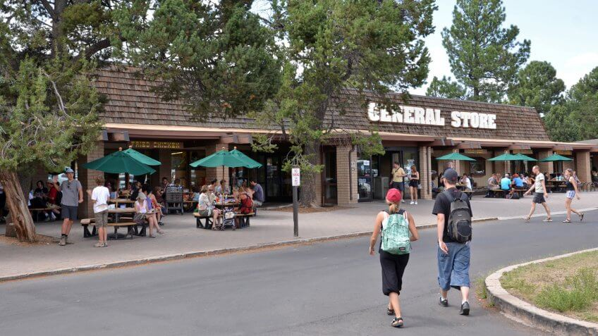 Canyon Village Marketplace at Market Plaza on the South Rim of Grand Canyon National Park.