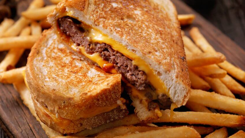 Grilled Cheese Sandwich Burger with French Fries-Photographed on Hasselblad H3D2-39mb Camera.