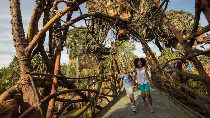 Floating mountains grace the sky while exotic plants fill the colorful landscape on Pandora - The World of Avatar at Disney's Animal Kingdom.
