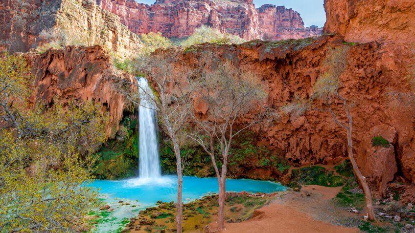 Havasu Falls is on the Havasupai Reservation in Supai, Arizona in the Southwest corner of the Grand Canyon.