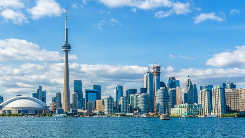 The beautiful Toronto's skyline over Lake Ontario.