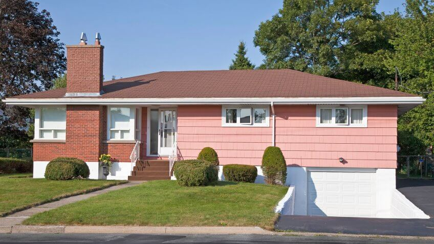 North America sixties era wooden bungalows in suburbia.