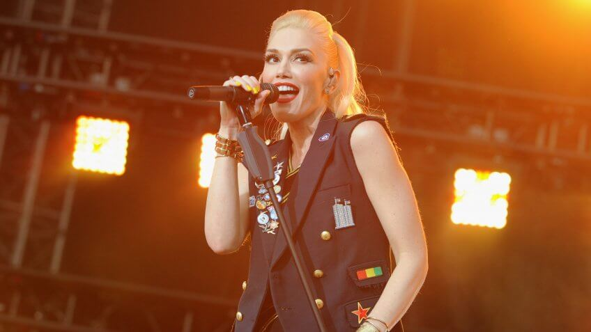 WASHINGTON, DC - APRIL 18:  Singer-songwriter Gwen Stefani of No Doubt performs onstage at the Global Citizen 2015 Earth Day Courtesy of Partner Citi at National Mall on April 18, 2015 in Washington, DC.