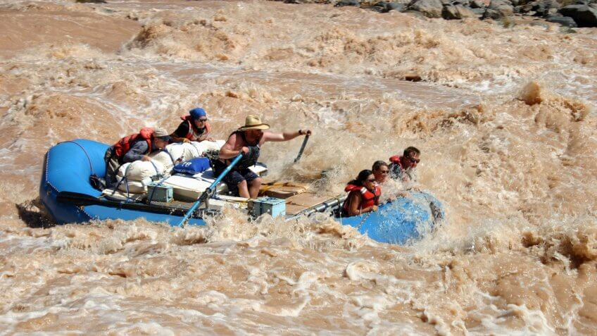Boaters running Lava Falls Rapid on the Colorado River in Grand Canyon National Park.