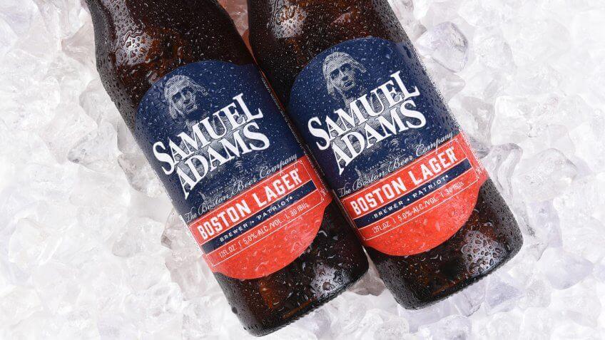IRVINE, CA - JULY 16, 2017: Samuel Adams Boston Lager on ice.