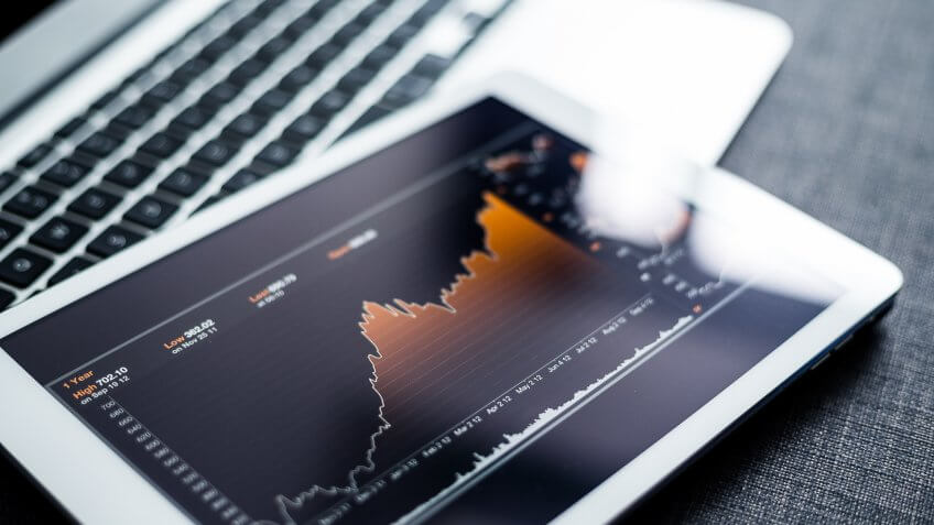 stocks graph on a tablet
