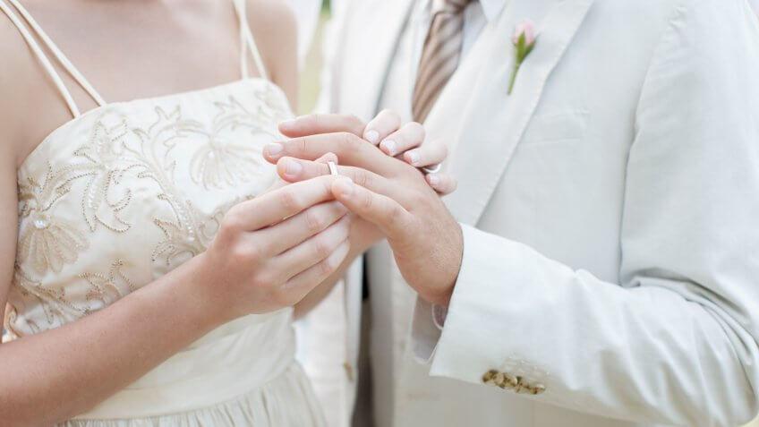 Bride putting ring on grooms finger.