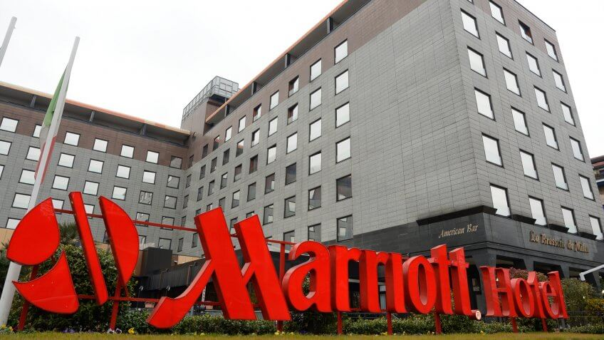external structure with red writing of the famous Marriott hotel in Milan
