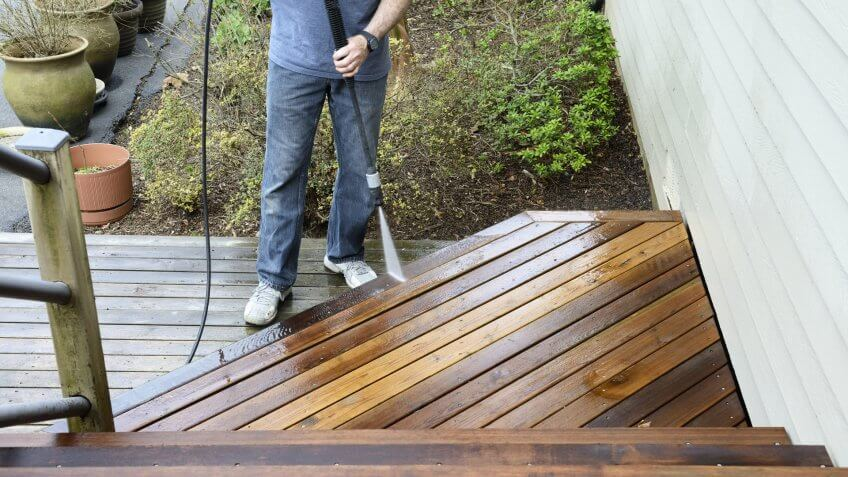 Man Washing Deck