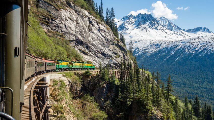 White Pass Summit train ride in Alaska mountains