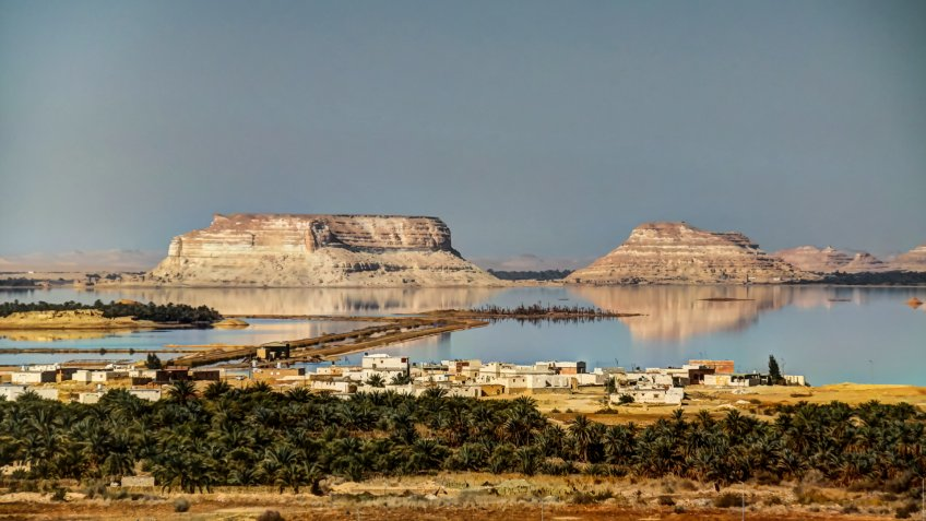 Panorama of Siwa lake and oasis, Egypt.