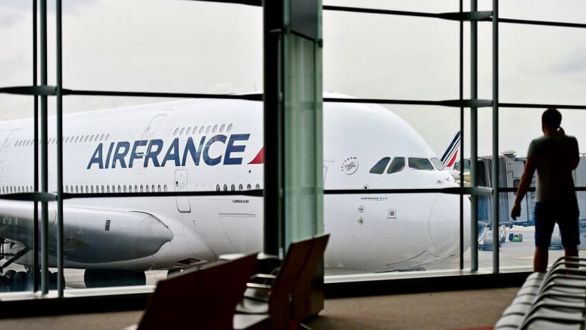 Air France airplanes are seen on Charles de Gaulle International Airport on June 11, 2016 in Paris. Air France announced a pilot strike between 11 and 14 of June.