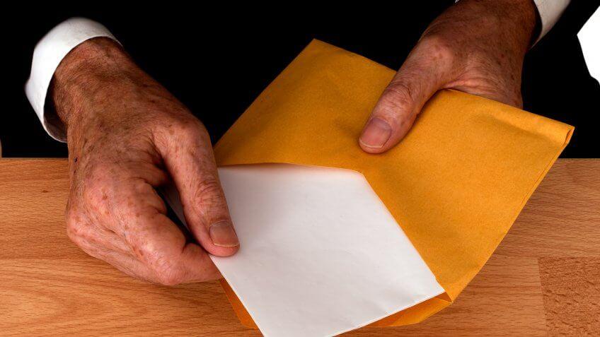 opening envelope