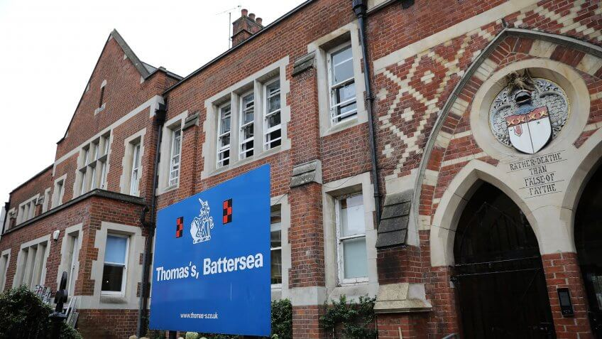 LONDON, ENGLAND - SEPTEMBER 04:  A general view of Thomas's Battersea school on September 4, 2017 in Battersea, England.