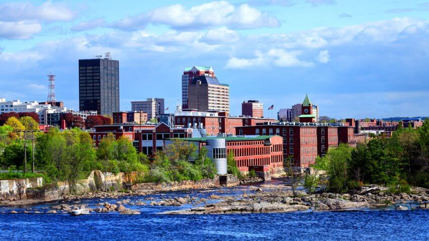 Downtown Manchester, New Hampshire along the banks of the Merrimack River.