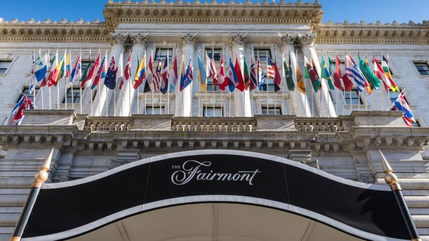 San Francisco, United States - December 16, 2015: The Fairmont San Francisco Hotel - a luxury hotel on Nob Hill just off California Street.