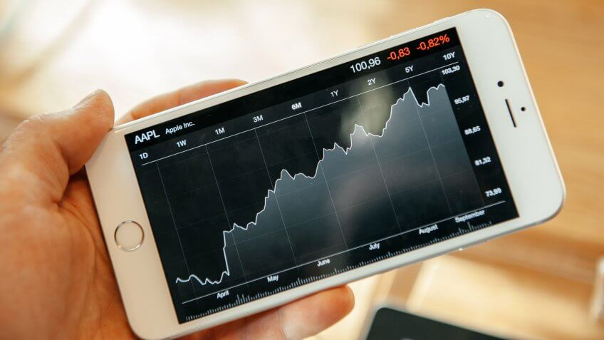 Apple stocks on a chart viewed on a smartphone