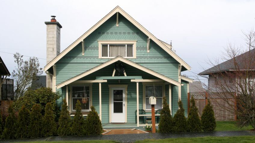 Cute little 50s style bungalow house on city lot.