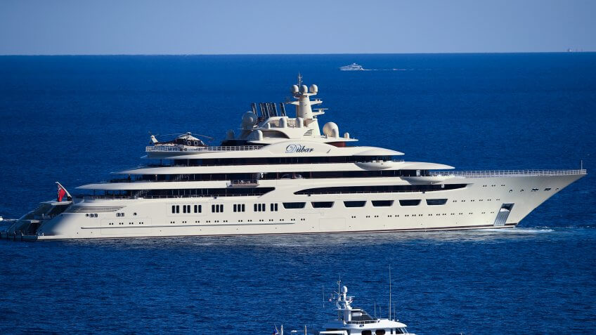 MONTE-CARLO, MONACO - APRIL 20:  The worlds biggest yacht The Dilbar owned by Alisher Usmanov sails by the Monte Carlo Country Club on day five of the Monte Carlo Rolex Masters at Monte-Carlo Sporting Club on April 20, 2017 in Monte-Carlo, Monaco.
