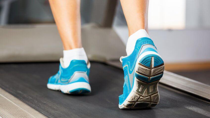 walking on a treadmill