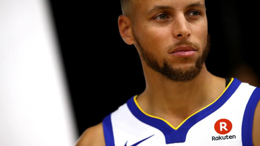 OAKLAND, CA - SEPTEMBER 22:  Stephen Curry #30 of the Golden State Warriors poses for a portrait during a photo shoot during the Golden States Warriors media day at Rakuten Performance Center on September 22, 2017 in Oakland, California.