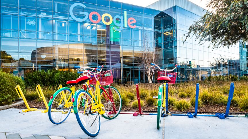 Mountain View, Ca/USA December 29, 2016: Googleplex - Google Headquarters with bikes on foreground.