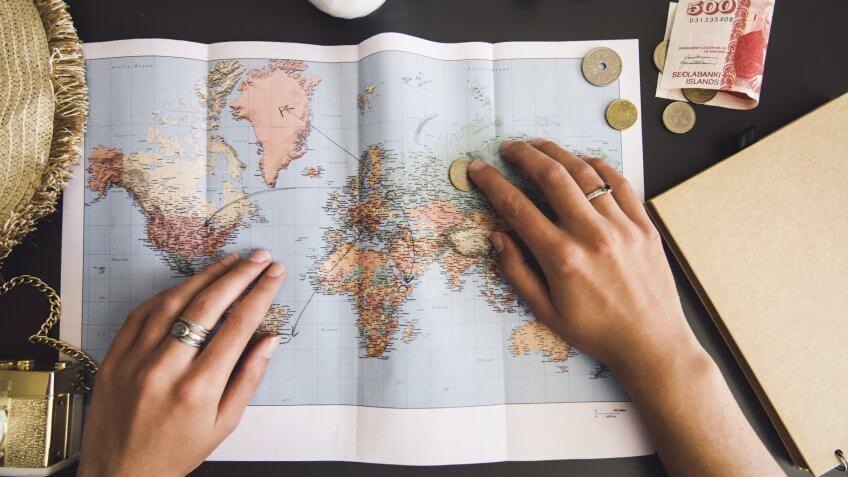 Woman planning her trip.