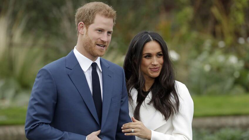 Mandatory Credit: Photo by AP/REX/Shutterstock (9243663z)Britain's Prince Harry and his fiancee Meghan Markle pose for photographers during a photocall in the grounds of Kensington Palace in London, .