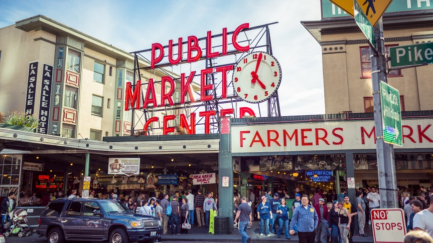 Architecture, Building Exterior, Built Structure, Crowded, Dawn, Day, Dusk, Famous Place, Fish Market, Front View, Horizontal, Image, Market, Multi Colored, North America, Outdoors, People In The Background, Photography, Pike Place Market, Saturday Market, Seattle, Street, The Americas, USA, Vibrant Color, Washington State, people, pike street market