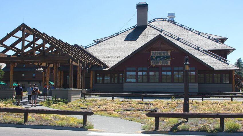 Old Faithful Snow Lodge, front of building.
